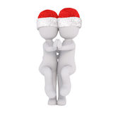 Cute 3d couple in Christmas hats ballroom dancing Stock Photography