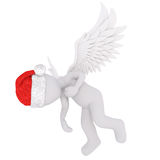 Cute 3D figure in angel wings and red hat. Cute 3D figure in angel wings and red Santa Claus christmas hat over white background Royalty Free Stock Images