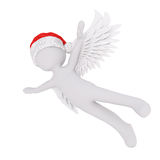 Cute 3D figure in angel wings and red hat Royalty Free Stock Image