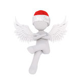 Cute 3D figure in angel wings and red hat Stock Image
