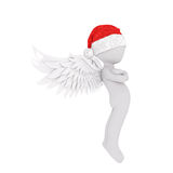 Cute 3D figure in angel wings and red hat. Cute 3D figure in angel wings and red Santa Claus christmas hat over white background Royalty Free Stock Photo