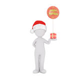 Cute 3D figure in angel wings and red hat. Cute 3D figure in angel wings and red Santa Claus christmas hat over white background Royalty Free Stock Image