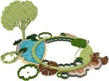Cute 3D green environment design for modern lifestyle Stock Photos