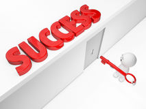 A cute 3D guy attains success (3D happyman isolated series) Royalty Free Stock Images