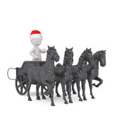 Cute 3d man centurion riding in a chariot Stock Images