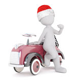 Cute 3d man racing driver sitting on his car. Wearing a festive red Santa hat with a motor sport checkered black and white flag behind, rendered illustration Royalty Free Stock Image
