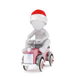 Cute 3d man racing driver sitting on his car. Wearing a festive red Santa hat with a motor sport checkered black and white flag behind, rendered illustration Royalty Free Stock Photography