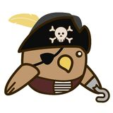 2D Cartoon Pirate bird flat design. Cute 2D Pirate bird in a flat design style. fat and round Royalty Free Stock Photography