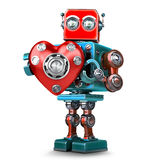 Cute 3d Retro Robot obot with red heart. . Contains clip. Cute 3d Retro Robot obot with red heart.  over white. Contains clipping path Stock Photography