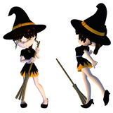 Cute 3d Witch. Digitally rendered image of a cute cartoon witch with broom Royalty Free Stock Images