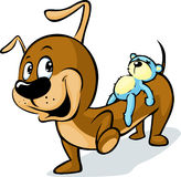 Cute Dachshund carries on his back a teddy bear  on white. Vector illustration Stock Photography