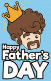Cute Dad with Crown Winking at you in Father`s Day, Vector Illustration. Poster with cute bearded dad with a crown winking at you for the king of the family in stock illustration
