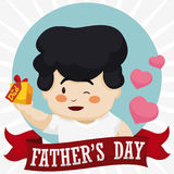Cute Dad Holding his Lovely Gift in Father`s Day Holiday, Vector Illustration. Poster with tender dad holding his special gift and celebrating Father`s Day royalty free illustration
