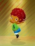 Cute dancer. Little character dancing pop music Stock Photo