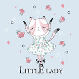 Cute dancer cat with Little lady slogan. Vector baby patch for fashion apparels, t shirt, stickers, embroidery and printed tee design Stock Photography