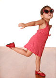 Cute Dancing Girl. In red outfit Stock Photos