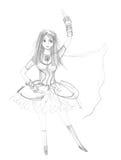 Cute dancing girl. Childish pencil drawing Royalty Free Stock Photos