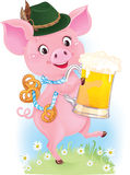 Cute dancing piglet is holding beer glass and pretzels Royalty Free Stock Photography