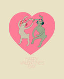 Cute dancing rabbits in cartoon style. Happy Valentines Day card. Vector illustration. Stock Photo