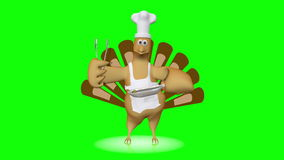 Cute dancing turkey with chef's hat and barbecue tongs - looping animation on green.