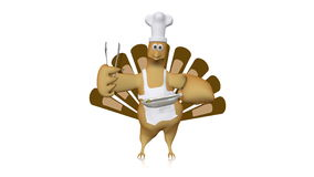 Cute dancing turkey with chef's hat and barbecue tongs - looping animation on white.