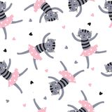 Cute Dansing Cats Seamless Pattern Royalty Free Stock Photos