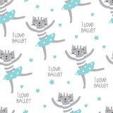 Cute dansing cats seamless pattern Royalty Free Stock Photo