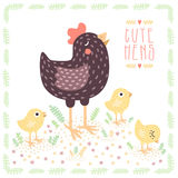Cute dark brown hen with yellow baby chickens vector background Royalty Free Stock Photo