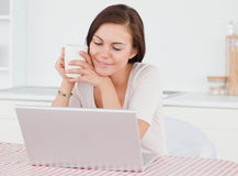 Cute dark-haired woman using her laptop Stock Image