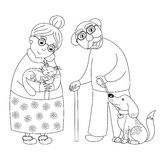 Cute darling grandmother and grandfather, coloring book page for children Royalty Free Stock Image