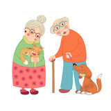 Cute darling grandmother and grandfather, granny Royalty Free Stock Images