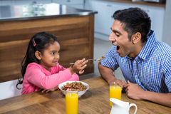 Cute daughter feeding his father Stock Image