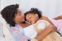 Cute daughter sleeping with mother on the sofa Stock Images