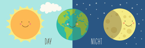 Cute Day and Night with funny smiling cartoon characters of planets royalty free illustration