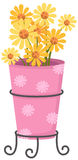 Cute dazy flowers in the pink vase Stock Photo