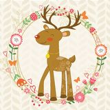 Cute dear in floral wreath. Illustration of cute dear in floral wreath Royalty Free Stock Photos