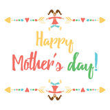 Cute decorative banner with words Happy Mothers Day decorated with smiling jumping girl with hugs Royalty Free Stock Photo