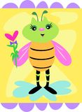 Cute Decorative Bee with Flower Royalty Free Stock Image