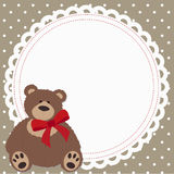 Cute decorative childrens frame with a toy bear. Template for the congratulations. Baby vector illustration. Baby shower or arrival Royalty Free Stock Images