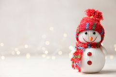 Cute decorative festive smiling snowman stock photography
