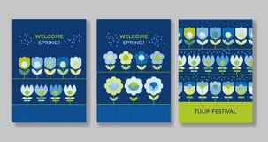 Cute decorative flower poster set. For web and print surface design. Green and blue color floral abstract motif in retro style with geometric texture on marine Stock Photography