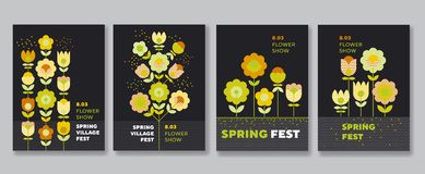 Cute decorative flower poster set Royalty Free Stock Photo