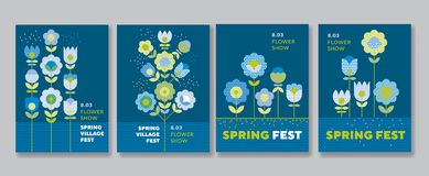 Cute decorative flower poster set for web and print Stock Images
