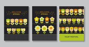 Cute decorative flower poster set for web and print Royalty Free Stock Images