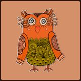 Cute Decorative Owl, vector illustration. Lacy bird. Stock Image