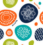Cute decorative pattern in Scandinavian style. Abstract background with colorful simple shapes. Royalty Free Stock Image