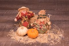 Cute decorative Pilgrim girls are welcoming the fall royalty free stock photos