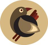 Cute decorative retro brown bird - 1 Royalty Free Stock Photography