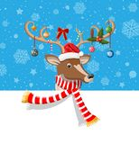 Cute deer with antlers, scarf, holly, bow, baubles. Place for text. Happy new year decoration. Merry christmas holiday. New year and xmas celebration. Vector royalty free illustration
