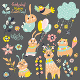 Cute deer, bunny and fox with flowers Royalty Free Stock Photo